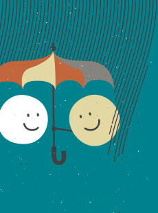 Little circle person holding an umbrella over another little circle person.